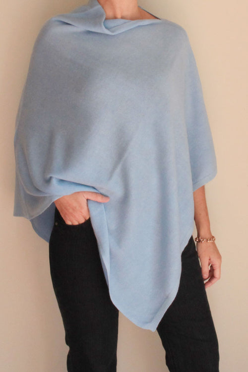 Pale Blue Poncho by Inspired 2 Give, front