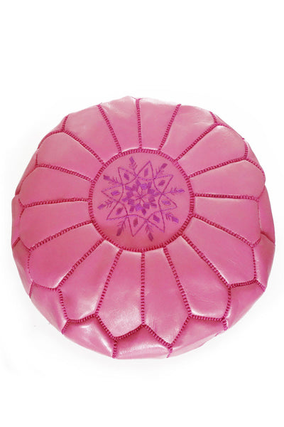 Pink Fuchsia leather Moroccan Ottoman Pouf by Inspired 2 Give