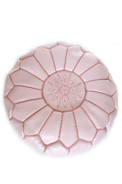 Pink leather Moroccan Ottoman Pouf by Inspired 2 Give