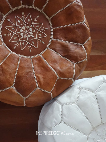 Leather Moroccan Pouff Ottoman, Tan. Inspired2give.com.au