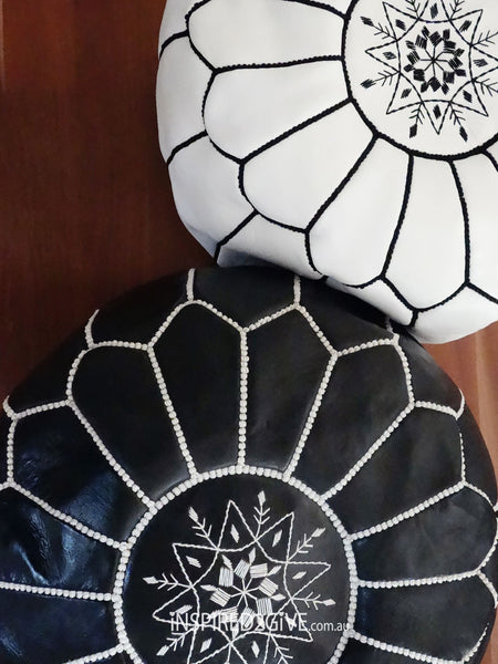 Leather Moroccan Pouff Ottoman, Black. Inspired2give.com.au