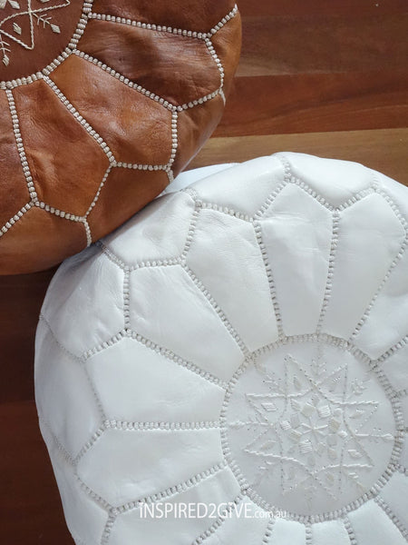 Leather Moroccan Pouff Ottoman, White. Inspired2give.com.au
