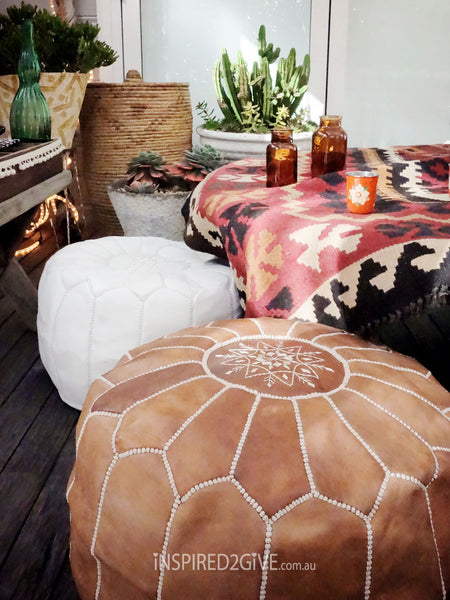 Leather Moroccan Pouf Ottoman, Tan. Inspired2give.com.au