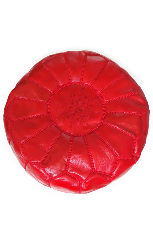 Red leather Moroccan Ottoman Pouf by Inspired 2 Give