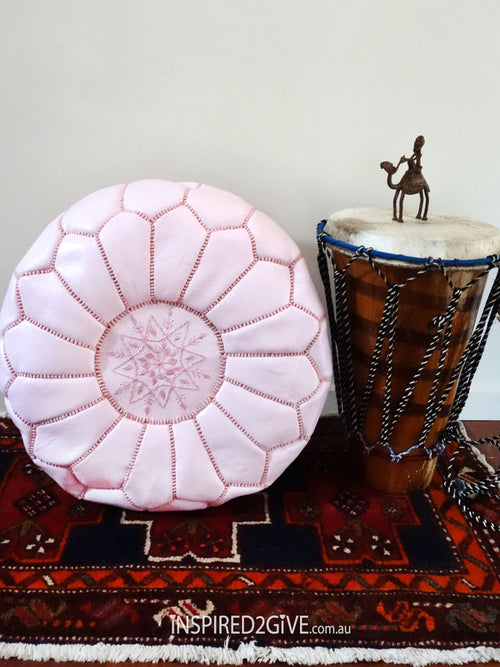 Leather Moroccan Pouff Ottoman, Pink. Inspired2give.com.au