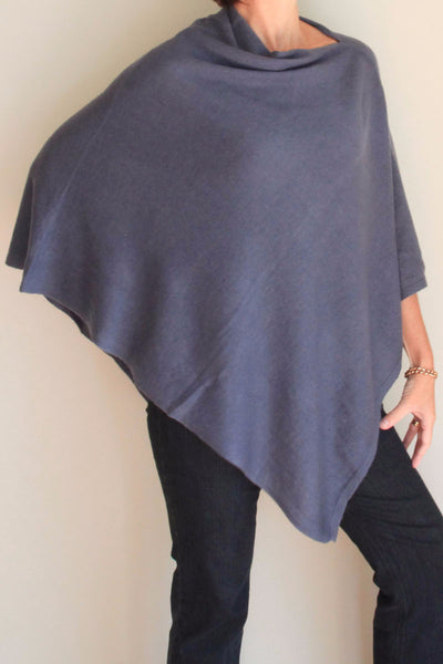Steel Blue Poncho by Inspired 2 Give, front