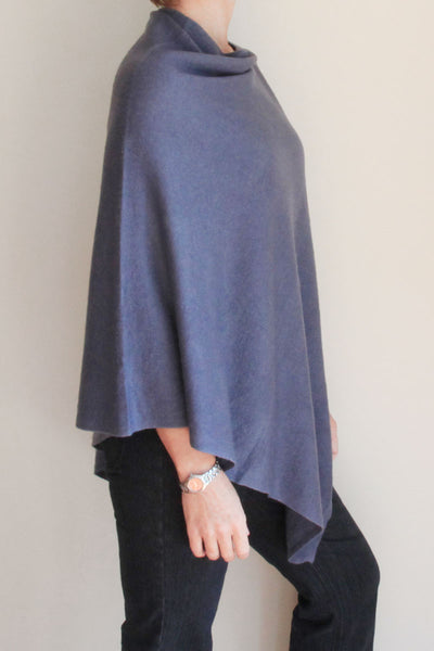 Steel Blue Poncho by Inspired 2 Give, side