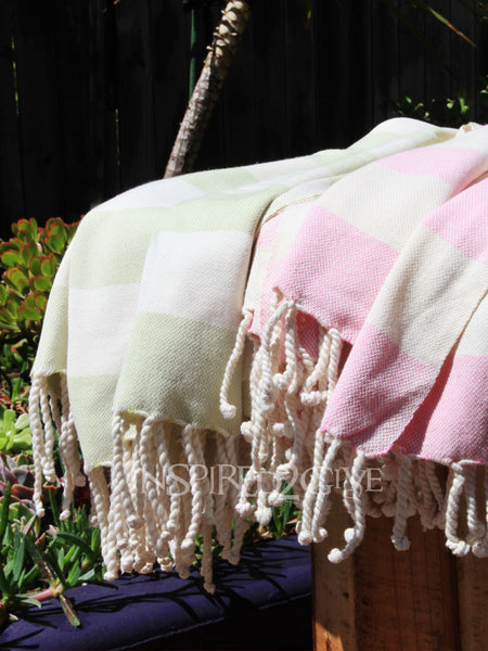 Lime Striped Turkish Towel
