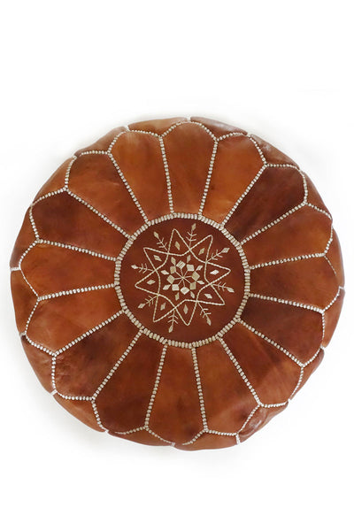 Tan leather Moroccan Ottoman Pouf by Inspired 2 Give