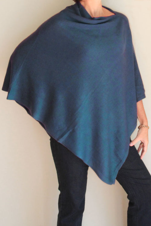 Teal Blue Poncho by Inspired 2 Give, front