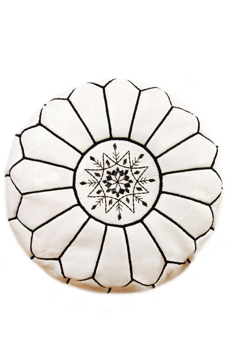 MOROCCAN LEATHER POUF | OTTOMAN - NATURAL