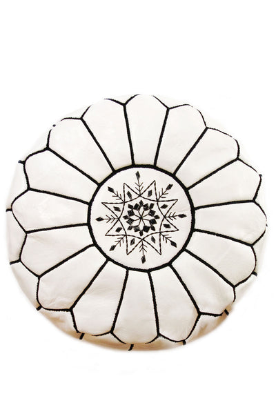 White with Black stitch, leather Moroccan Ottoman Pouf by Inspired 2 Give