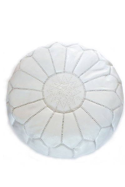White leather Moroccan Ottoman Pouf by Inspired 2 Give