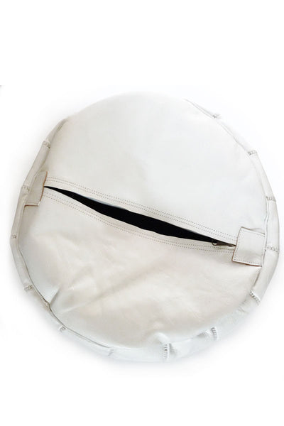 White leather Moroccan Ottoman Pouf by Inspired 2 Give, bottom