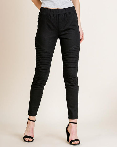 Black Moto Zipper Stretch Legging Savvy Chic Boutique Cleveland Ohio