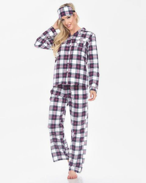 Three Piece Pajama Set - Purple Plaid
