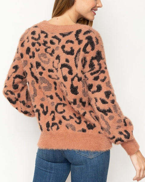 Rust Brown Black Leopard Animal Print Furry Knit V-Neck Pullover Sweater Savvy Chic Boutique Cleveland Ohio