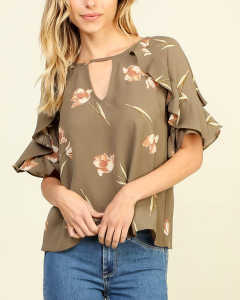 Timing Olive Green Floral Print Keyhole Ruffle Sleeve Blouse Top Savvy Chic Boutique Cleveland Ohio