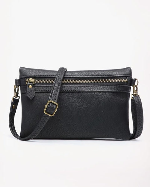 Jen & Co Black Faux Leather Cross Body Wristlet Purse Handbag Savvy Chic Boutique Cleveland Ohio