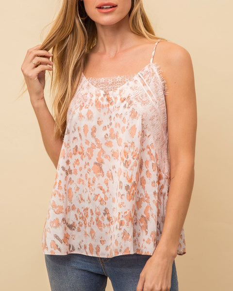 White Peach Pink Leopard Animal Print Lace Camisole Cami Tank Top