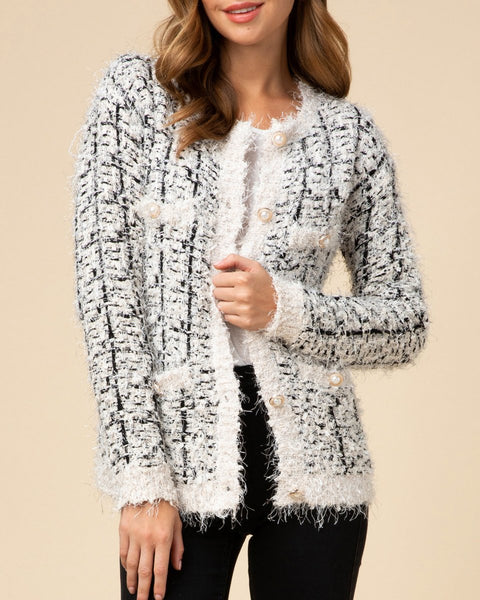Black White Pattern Mohair Soft Texture Knit Cardigan Pearl Button Sweater Savvy Chic Boutique Cleveland Ohio