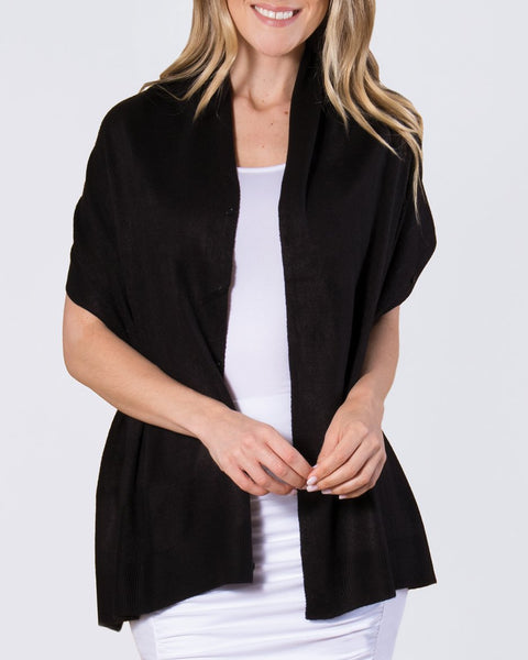 Basic Black Wrap Shawl Knit Button Layering Top Savvy Chic Boutique