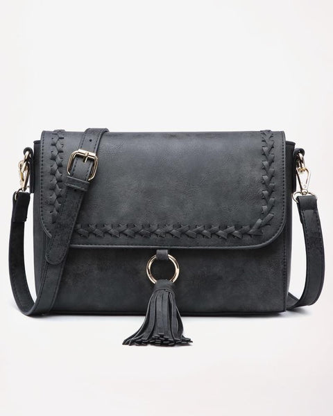 Jen & Co Black Whipstitch Flap Over Faux-Leather Tassel Crossbody Handbag Purse Savvy Chic Boutique Cleveland Ohio