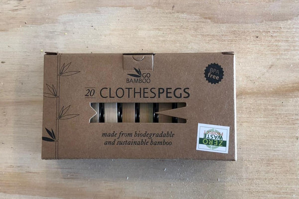 Bamboo Clothes Pegs (20 Pegs)