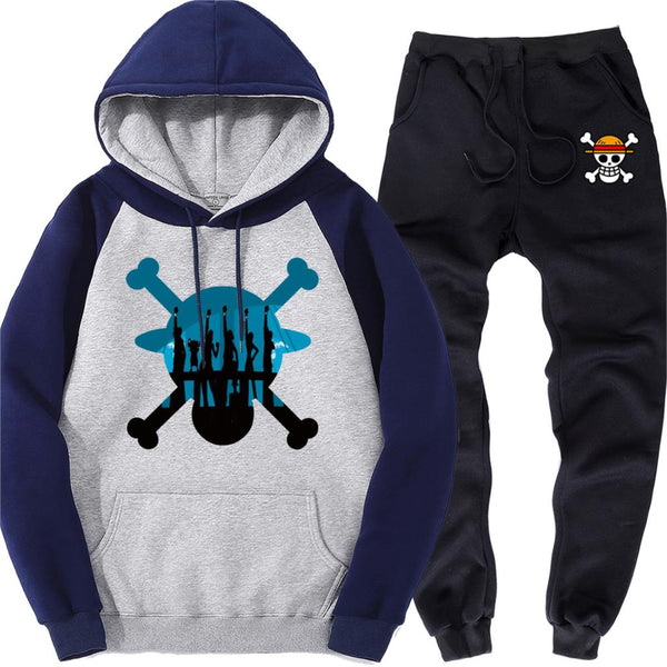 Skull Male Raglan Hoodies Warm Sweatpants Autumn Fleece Men's Sports Suit