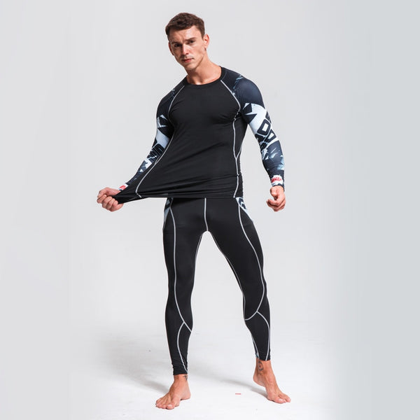 Men's Sports Suit Compression Clothing Fitness Training kit Thermal Underwear