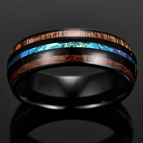 8mm Hawaiian Wood Tungsten Rings for Men Women Black Domed Wedding Bands Size 7-14