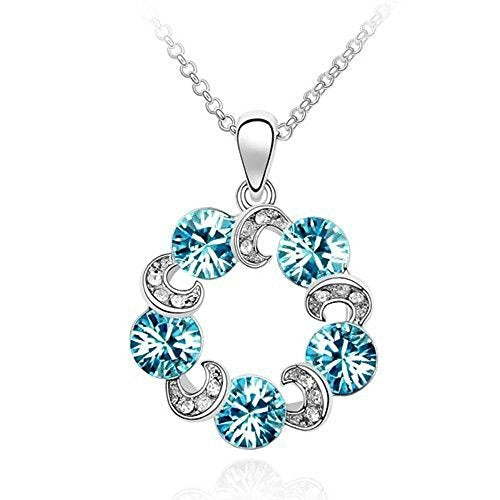 Sparkling Light Blue Colored and Clear Circles Charm Necklace 202 - New Wedding Rings