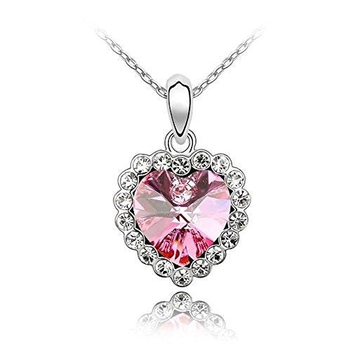 Sparkling Pink Colored and Clear Heart Charm Necklace 145 - New Wedding Rings