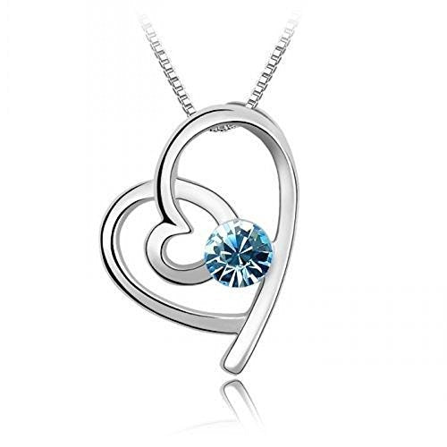 Sparkling Light Blue Colored Looped Heart Pendant Necklace 173 - New Wedding Rings