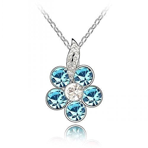 Sparkling Blue Colored and Clear Flower Charm Necklace 195 - New Wedding Rings