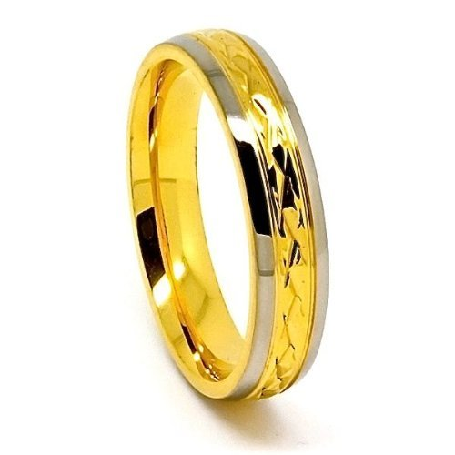5mm Titanium with 18k Gold Middle Facet Wedding Band Size 5-14 - New Wedding Rings