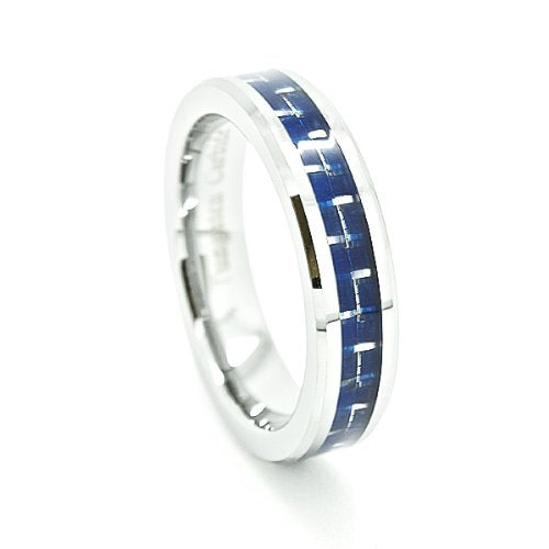 Wedding Ring 5mm Tungsten Carbide Wedding Band with Blue Carbon Fiber Inlay Size 5-13 - New Wedding Rings