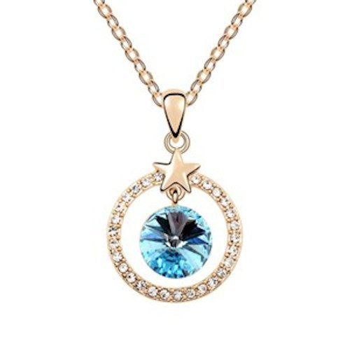 Sparkling Light Blue Colored and Clear Star Circle Charm Necklace 1392 - New Wedding Rings