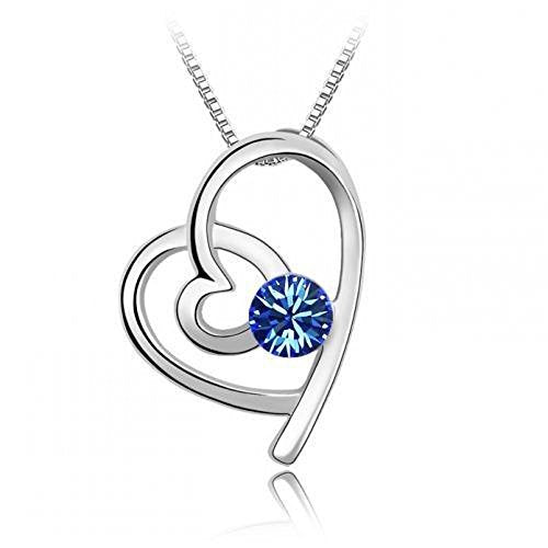 Sparkling Dark Blue Colored Looped Heart Charm Necklace 125 - New Wedding Rings