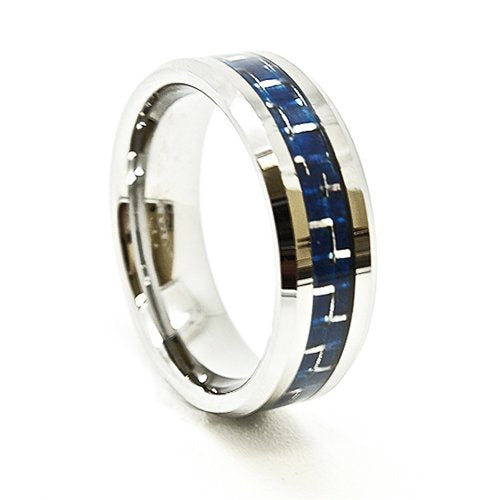 7mm Tungsten Carbide Wedding Band with Blue Carbon Fiber Inlay Size 5-14 - New Wedding Rings