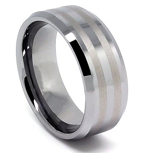 9mm Wide Solid Tungsten Carbide Ring with 2 Satin Lines Wedding Band Size (8) - New Wedding Rings