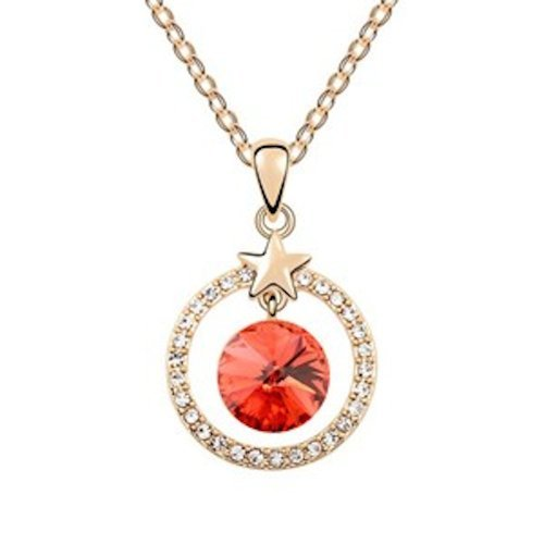 Sparkling Red Colored and Clear Star Circle Charm Necklace 1394 - New Wedding Rings