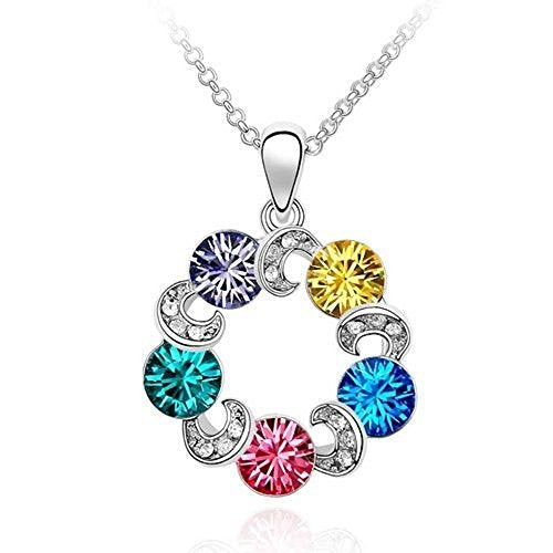 Sparkling Pink, Blue, Yellow, Blue Green Purple Colored and Clear Circles Charm Necklace 201 - New Wedding Rings