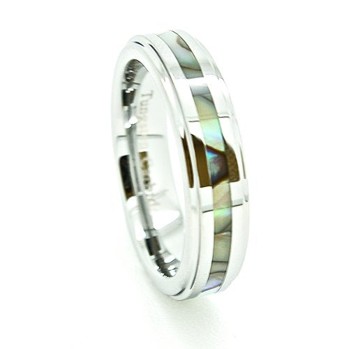 Premium 5mm Tungsten Carbide Wedding Band with Abalone Shell Inlay Size 4-13 - New Wedding Rings