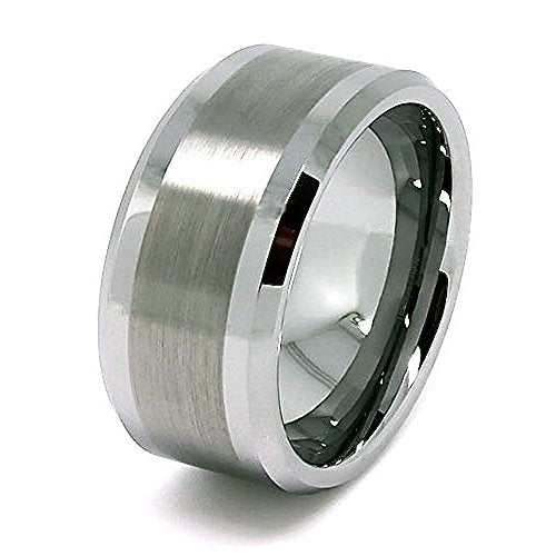 10mm Solid Tungsten Great Satin Center Wedding Band Size 7-17 - New Wedding Rings