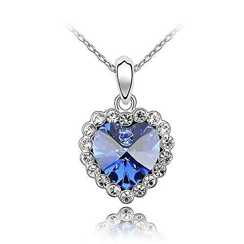 Sparkling Dark Blue Colored and Clear Heart Charm Neckace 110 - New Wedding Rings