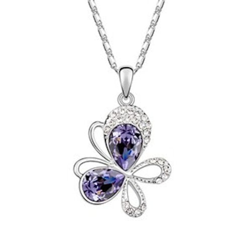 Sparkling Purple Colored and Clear Tilted Butterfly Charm Necklace 1400 - New Wedding Rings