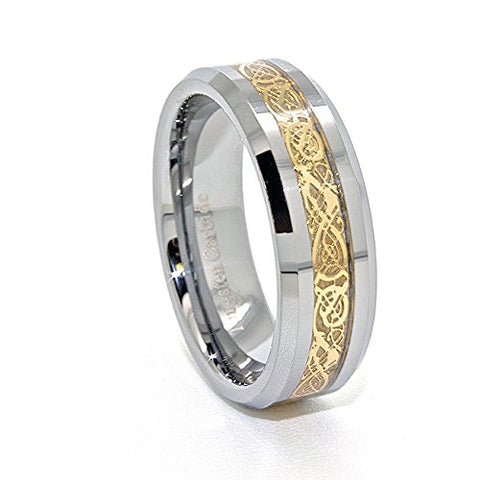 7mm Polished Tungsten Wedding Band with Golden Colored Celtic Dragon Inlay Size 4-15 - New Wedding Rings