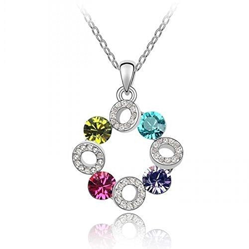 Sparkling Blue, Green, Pink, Purple Colored and Clear Circles Charm Necklace 191 - New Wedding Rings