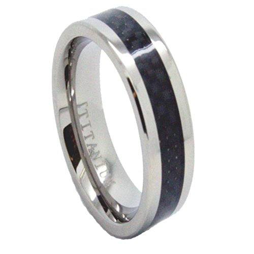 7mm Lightweight Titanium Bands with Black Carbon Fiber Inlay Wedding Band Size 4-16